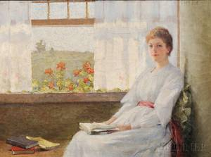 Carle John Blenner American 18621952 Lady in White Seated by a Window