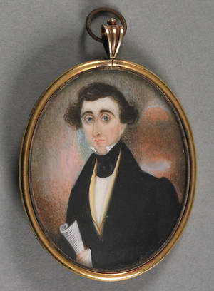 Miniature watercolor on ivory portrait mid 19th c