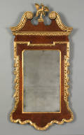 George II burl veneer and giltwood mirror ca 1745