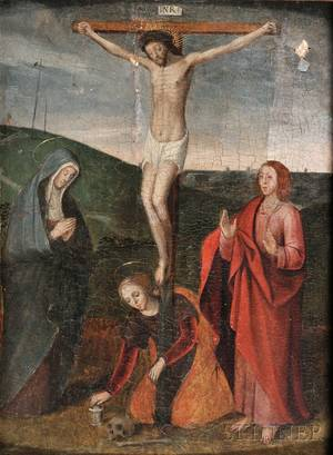 Flemish School 16th Century Style The Crucifixion with the Virgin St John and Mary Magdalene