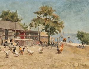 William Langley British 18521922 Chickens in a Seaside Farmyard