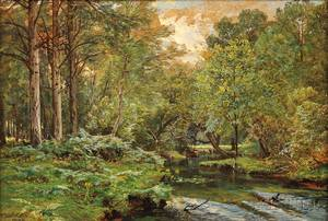 William Trost Richards American 18331905 The Stream at the Forests Edge