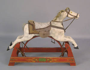 Victorian carved and painted rocking horse 19th c
