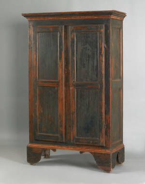 Painted pine wall cupboard ca 1800