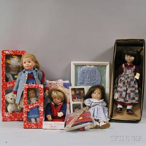 Group of Kathe Kruse Sigikid and Gotz Dolls and Accessories