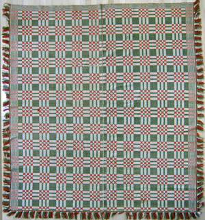 Red white and green overshot coverlet 19th c