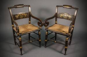 Pair of Regency Hitchcock Style Armchairs
