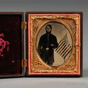 Sixthplate Tintype Portrait of a Young Civil War Union Soldier Beside an American Flag