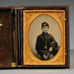Quarterplate Tintype Portrait of a Young Soldier
