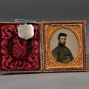 Sixthplate Tintype Portrait of a Union Soldier with Service Medal