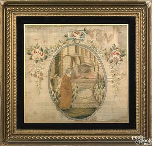 Bethlehem Pennsylvania Moravian silk chenille and paint on silk needlework mourning picture