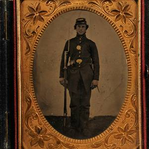 Quarterplate Tintype Portrait of a Soldier Standing at Attention