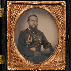 Sixthplate Tintype Portrait of a Seated Union Officer