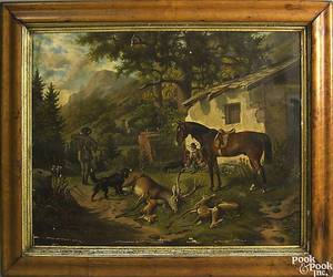 Oil on canvas hunt scene late 19th c