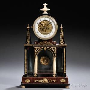 Mahogany Veneered Table Clock with Automaton