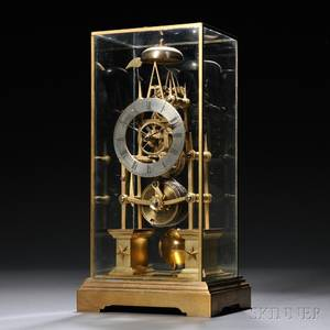 Brass Gothicstyle Skeleton Clock