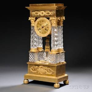 French Giltbrass and Cut Glass Portico Clock