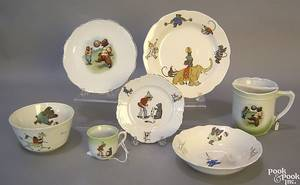 Group of 7 pcs of childrens tableware with bear motifs