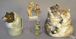 German majolica humidor in the form of 2 bears with pipe