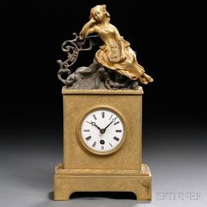 Brass and Bronze Miniature French Mantel Clock