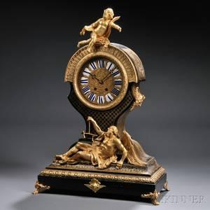 Figural Boulle Mantel Clock