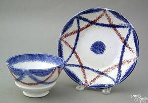 Blue and red spatter cup and saucer 19th c