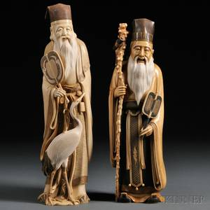 Two Ivory Carvings of Chinese Sages