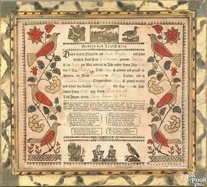 Carlisle Pennsylvania printed and hand colored fraktur pub 1813