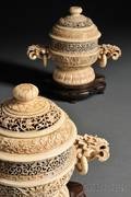 Pair of Ivory Covered Censers with Pedestals