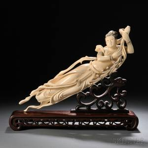 Ivory Apsara on a Wood Stand