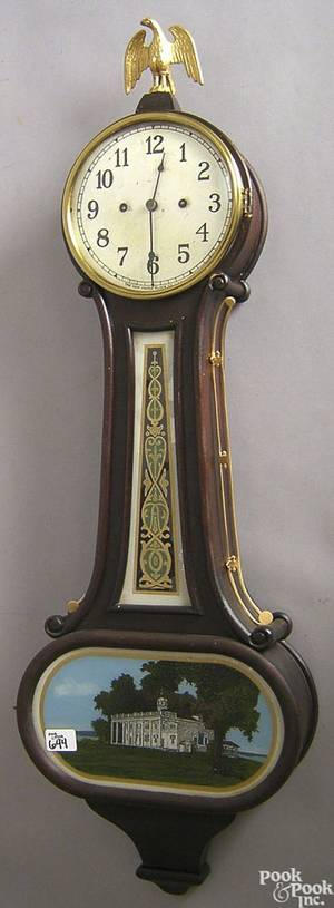 New Haven Clock Co mahogany banjo clock