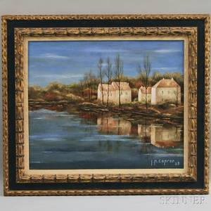 JeanPierre Capron French b 1921 Houses on a Pond in Autumn