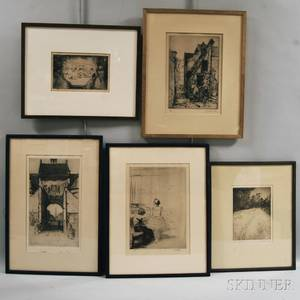 Five Framed Etchings Winfield Scott Clime American 18811958 Edge of the Field David Young Cameron British 18651945 A Gatewa