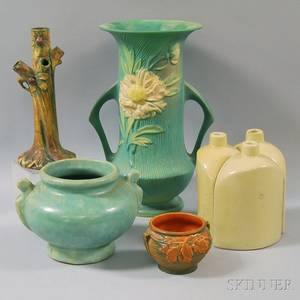 Seven Pieces of Molded American Art Pottery Including Roseville and Weller