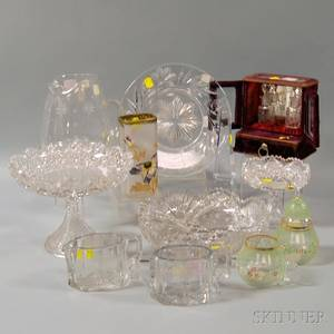 Six Colorless Cut Glass Items and Four Decorated Glass Items