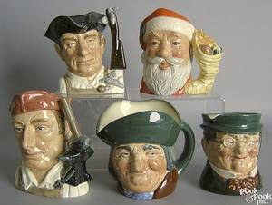 Five Royal Doulton toby mugs to include Santa Claus