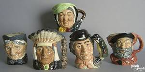 Five Royal Doulton toby mugs to include North American Indian