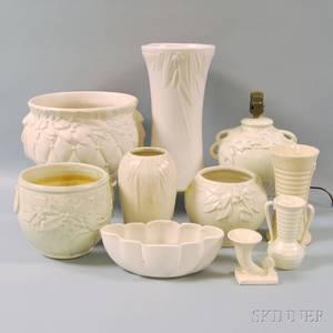 Ten Whiteglazed Molded American Art Pottery Items