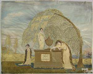 Silk chenille and paint on silk memorial needlework early 19th c