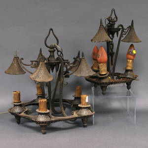 Two Arts  Crafts Cast Iron Hanging Ceiling Light Fixtures