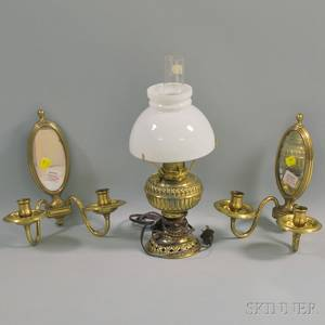 Pair of Mirrored Brass Twolight Candle Sconces and a Rochester Jr Pressed Brass Lamp