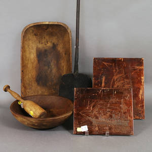 Three Pieces of Woodenware a Wrought Iron Peel and Two Etched Copper Printer Plates Depicting Sailing Vessels
