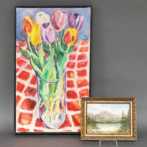 Two Framed Works James Power American 20th21st Century Still Life with Tulips