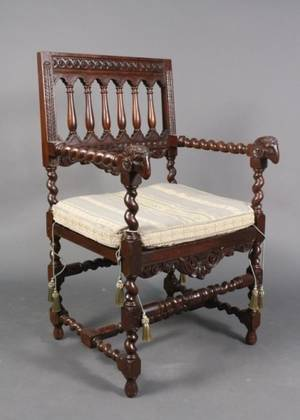 19th C Walnut Renaissance Revival Style Chair