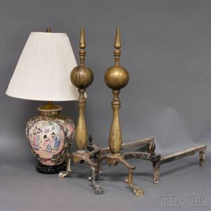 Chinoiseriedecorated Porcelain Ginger Jar Table Lamp and a Pair of Brass Andirons