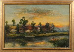 William Langley British fl 18801920 Riverside Landscape at Sunset