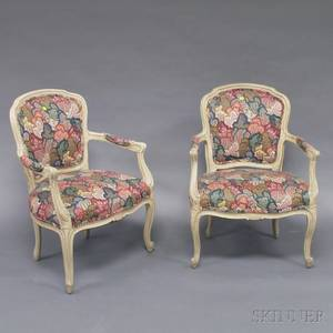 Pair of Louis XVstyle Cremepainted and Upholstered Armchairs