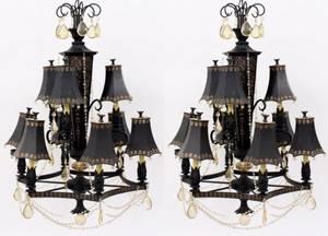 Pair Regency Style Tole Peinte Crystal Chandeliers