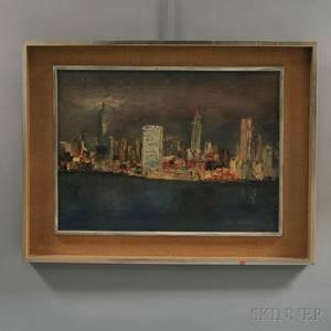 American School 20th Century New York City Skyline