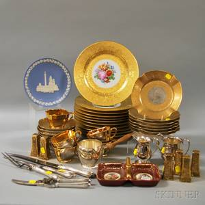 Group of Assorted Decorated Mostly Porcelain and Silverplated Tableware